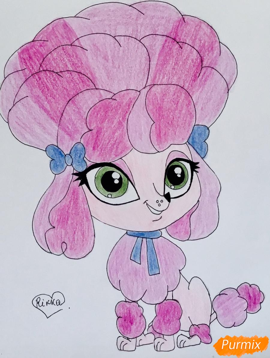 Как нарисовать розового пуделя из мультфильма My Littlest Pet Shop карандашом поэтапно