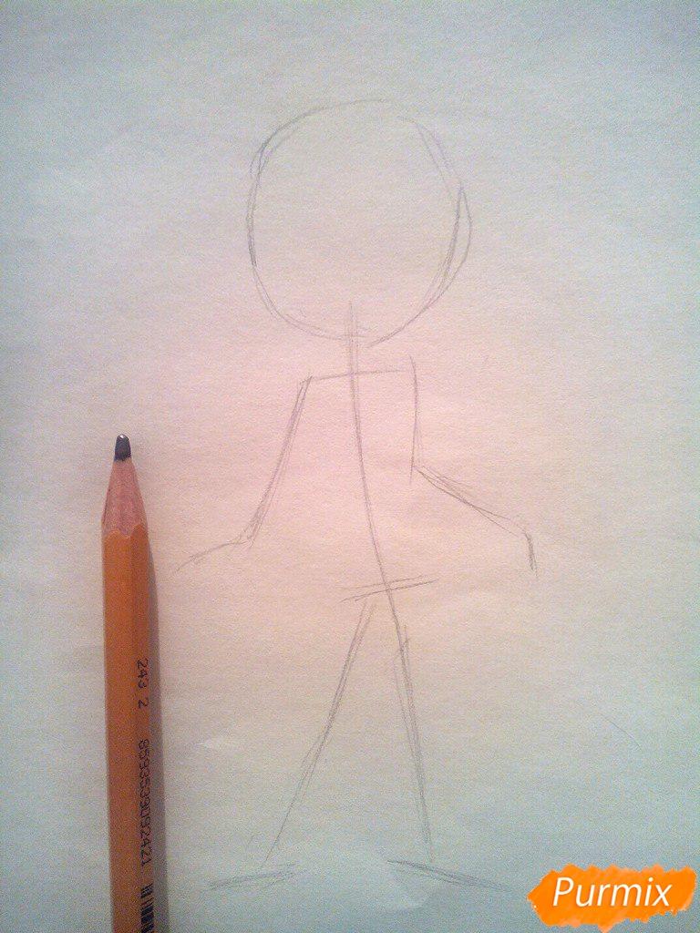 Рисуем Розу из мультфильма Барбоскины цветными - шаг 1