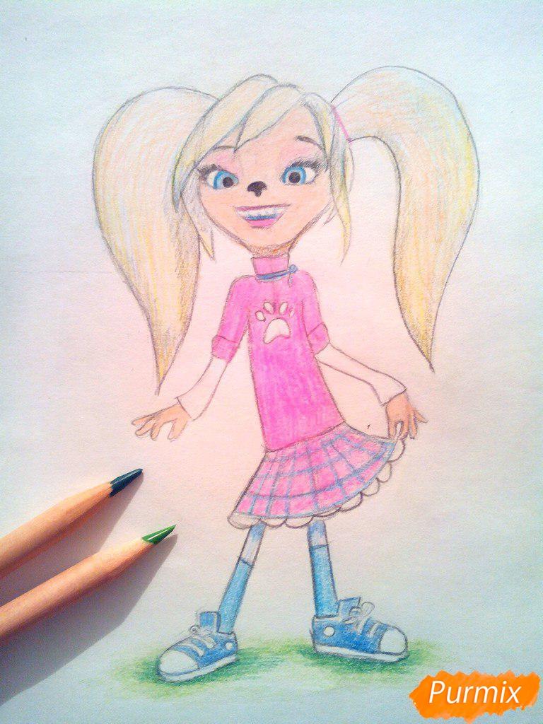 Рисуем Розу из мультфильма Барбоскины цветными - шаг 12