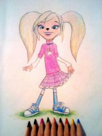 Розу Барбоскину цветными карандашом