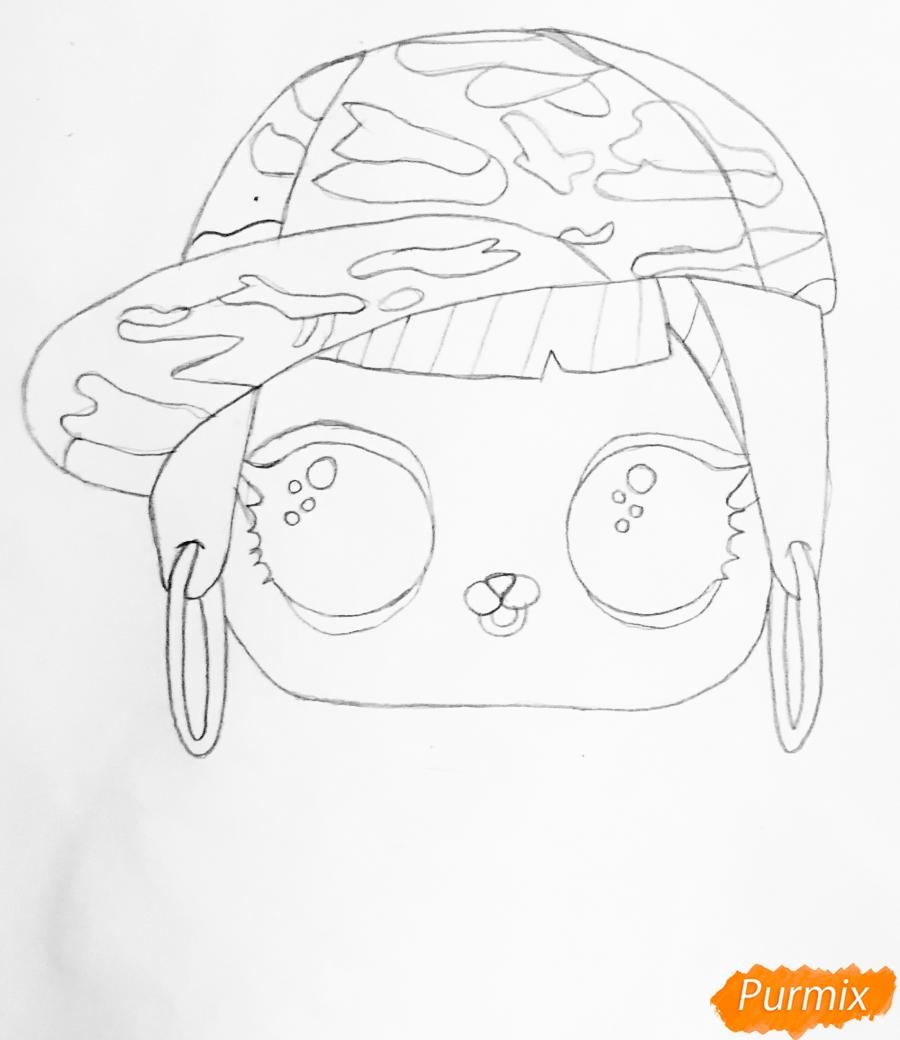 Рисуем серого крольчонка в розовой кепке из мультфильма Lol Pets - шаг 3
