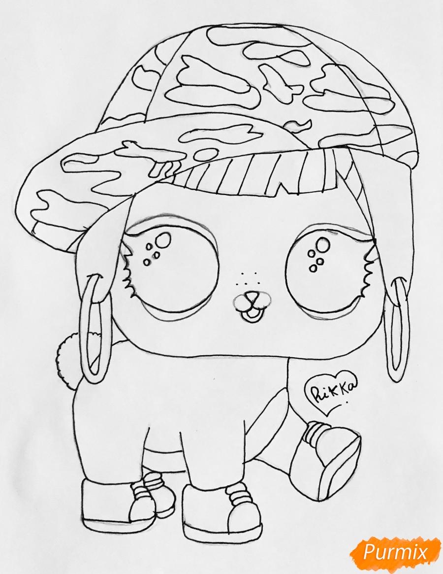 Рисуем серого крольчонка в розовой кепке из мультфильма Lol Pets - фото 5