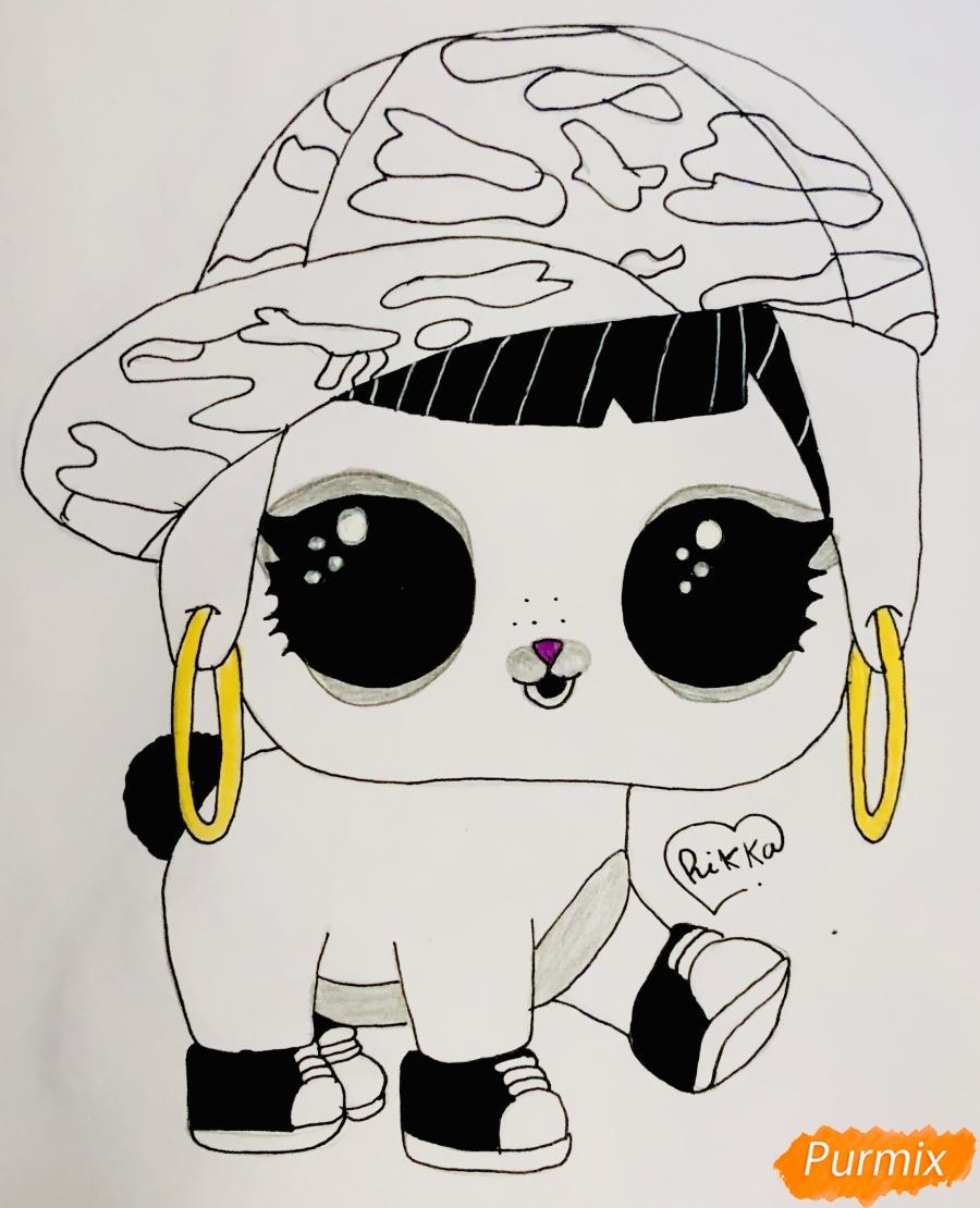 Рисуем серого крольчонка в розовой кепке из мультфильма Lol Pets - фото 7