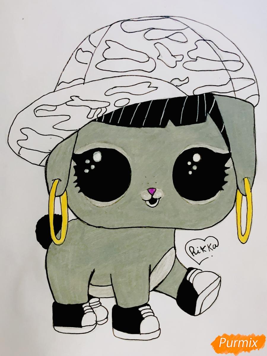 Рисуем серого крольчонка в розовой кепке из мультфильма Lol Pets - шаг 8