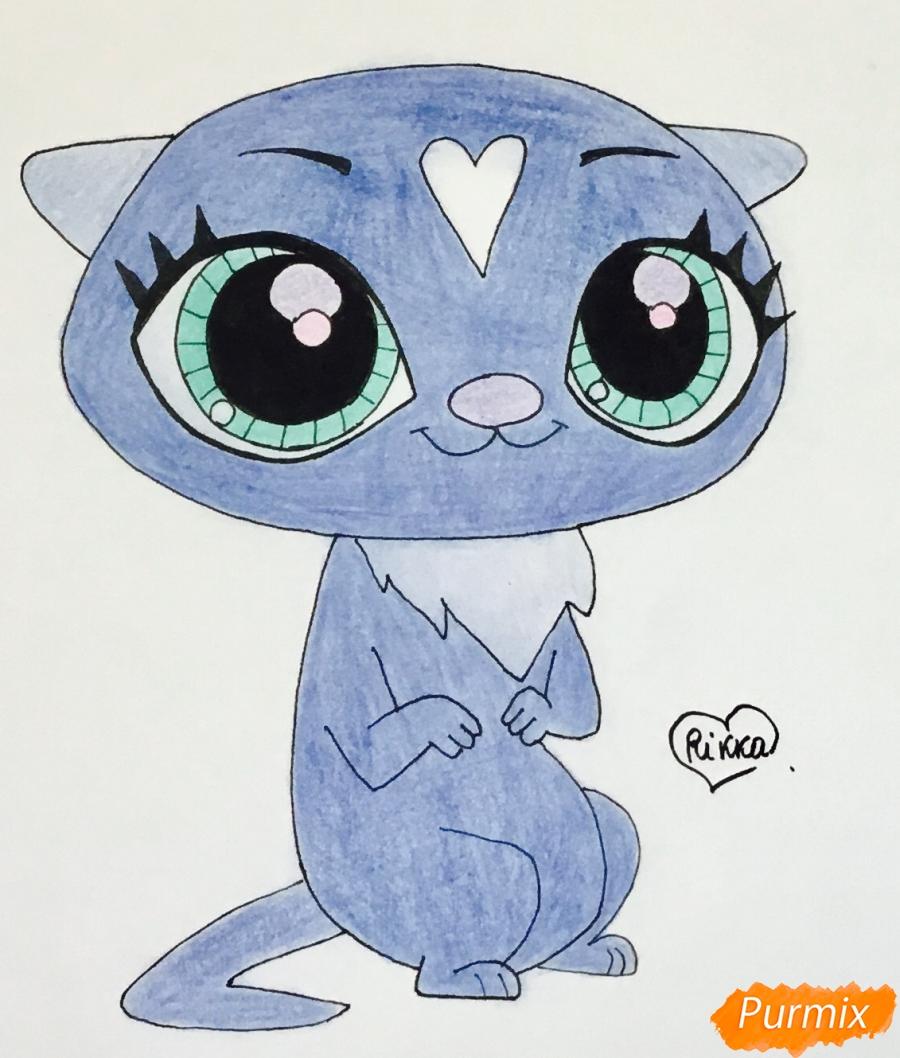 Как нарисовать синюю выдру из мультфильма My Littlest Pet Shop карандашом поэтапно