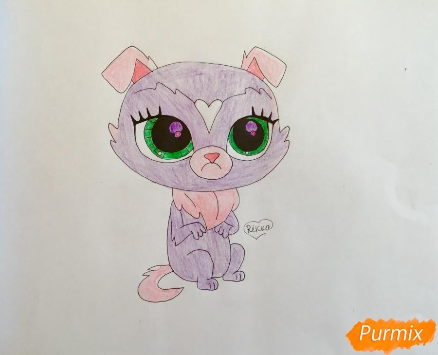 Как нарисовать собачку Чери Бау Бау из мультфильма My Littlest Pet Shop карандашом поэтапно