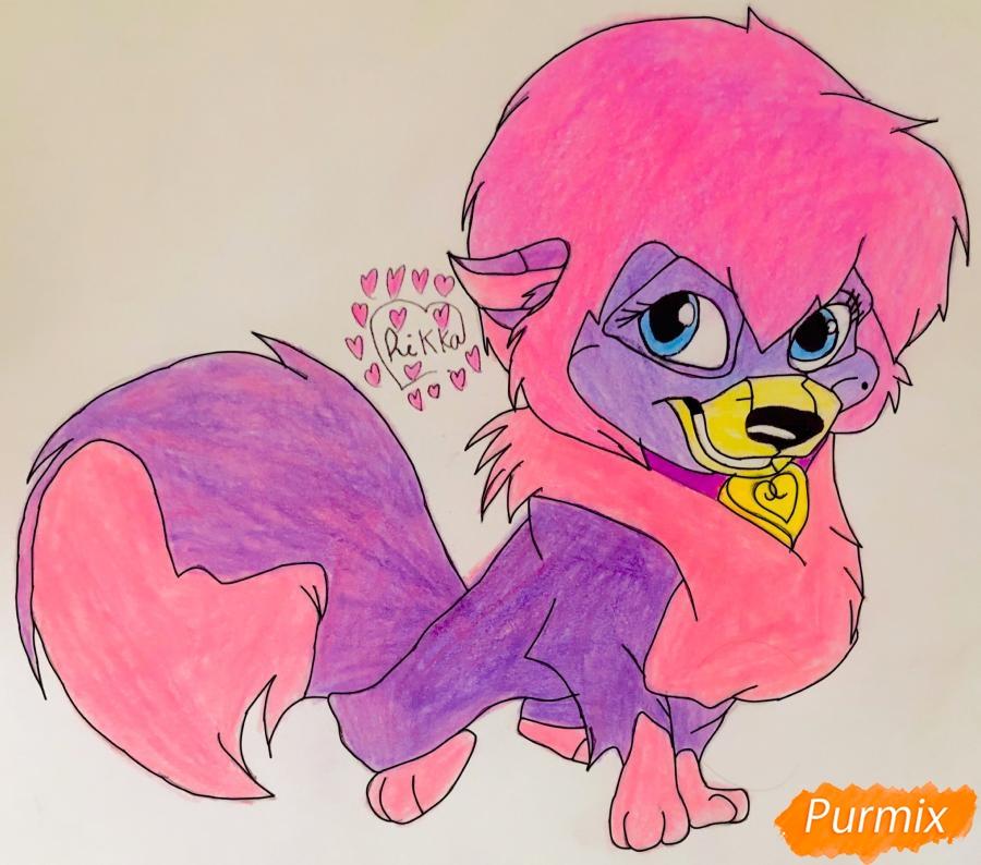 Как нарисовать собачку Дикси из мультфильма Балто цветными карандашами поэтапно