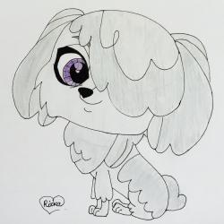 собачку породы Бобтейл из My Littlest Pet Shop карандашом