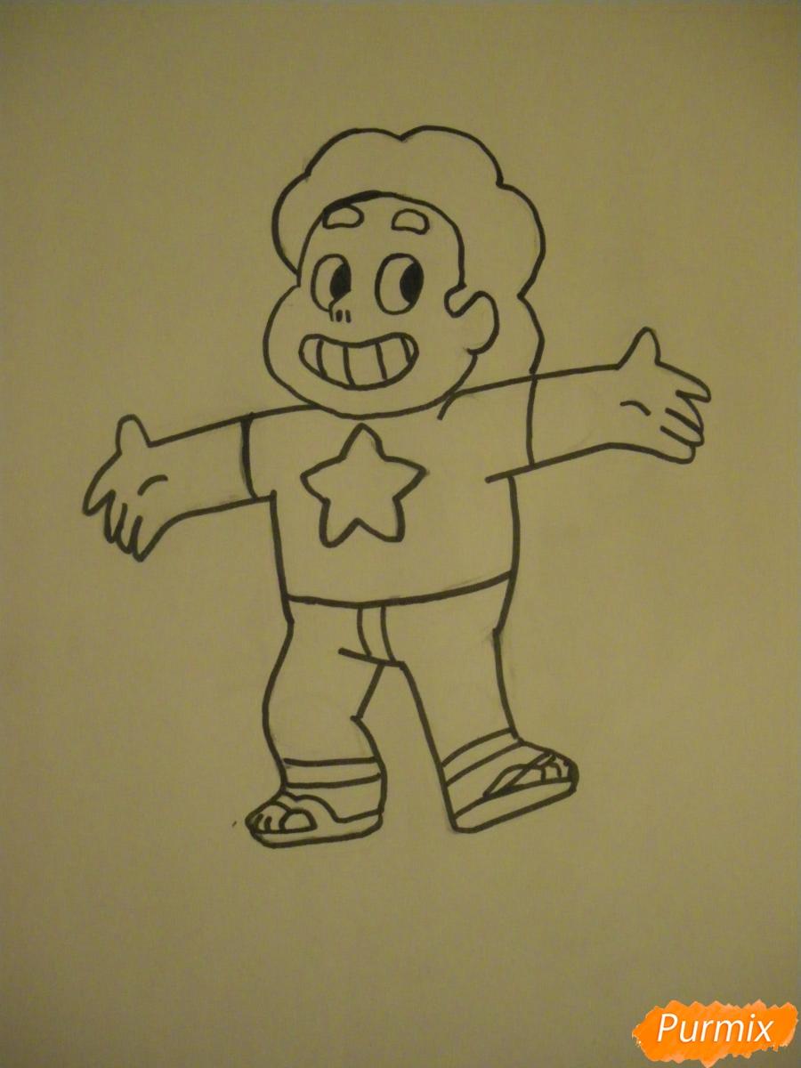 Рисуем Стивена Юниверса из Вселенная Стивена карандашами - шаг 6