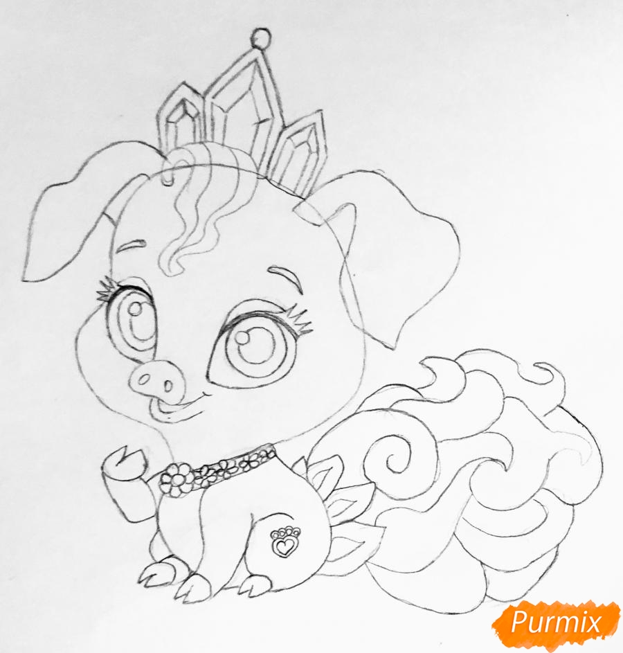 Рисуем свинью по имени Truffles питомца Рапунцель из мультфильма palace pets - фото 6