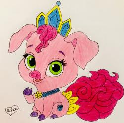 Рисунок свинью по имени Truffles питомца Рапунцель из мультфильма palace pets