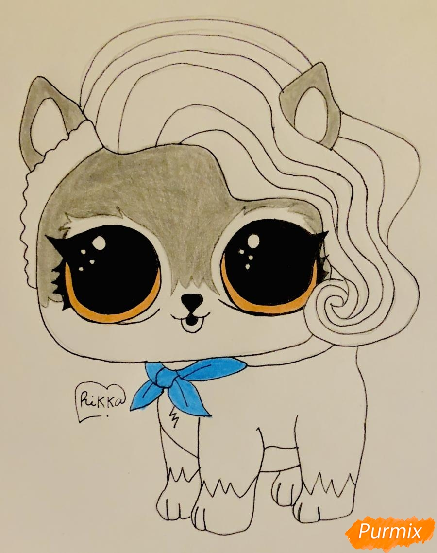 Рисуем волчёнка из мультфильма Lol Pets - фото 8