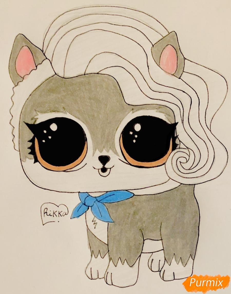 Как нарисовать волчёнка из мультфильма Lol Pets карандашом поэтапно