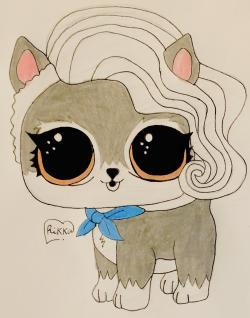 Рисунок волчёнка из мультфильма Lol Pets