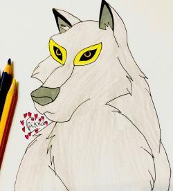 Рисунок волчицу Энаю из мультфильма Балто