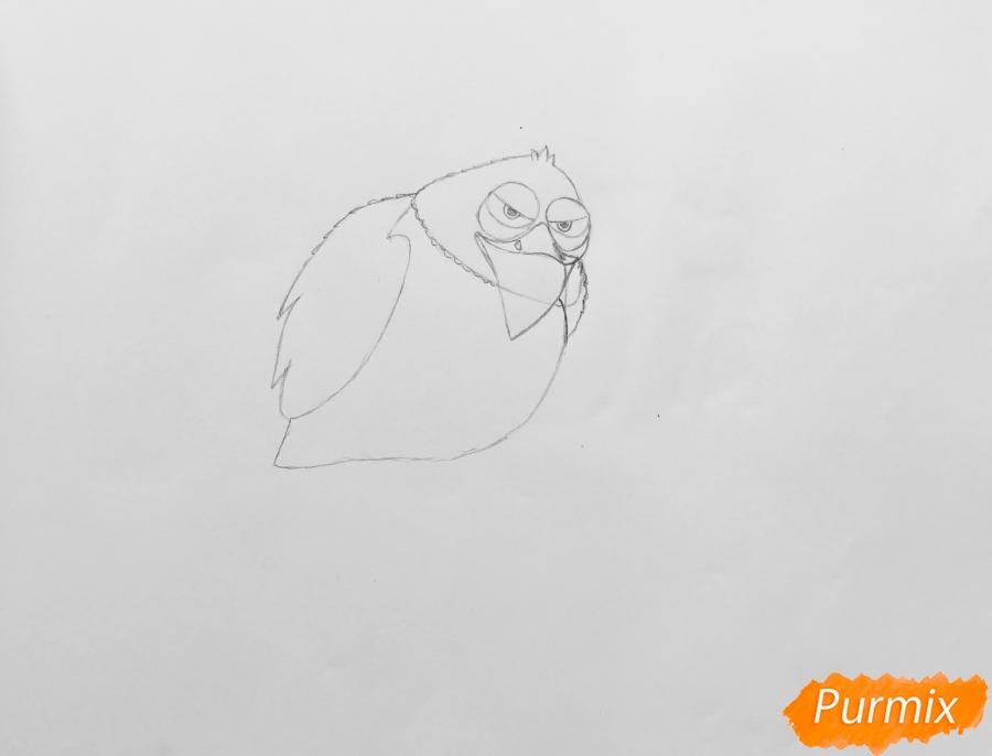 Рисуем ястреба Тиберия из мультфильма Тайная жизнь домашних животных - шаг 3