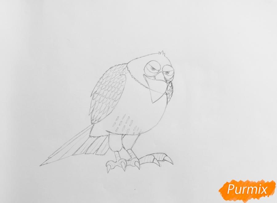 Рисуем ястреба Тиберия из мультфильма Тайная жизнь домашних животных - фото 5