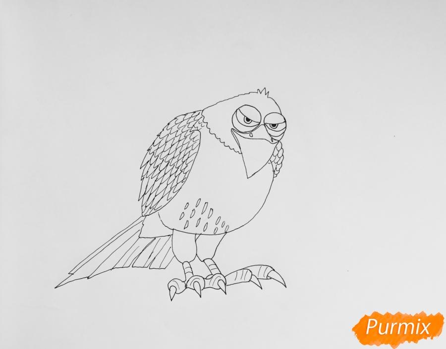 Рисуем ястреба Тиберия из мультфильма Тайная жизнь домашних животных - фото 6