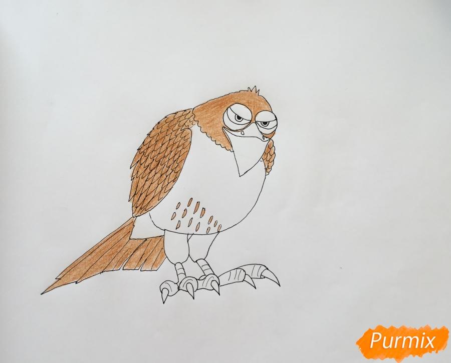 Рисуем ястреба Тиберия из мультфильма Тайная жизнь домашних животных - фото 7