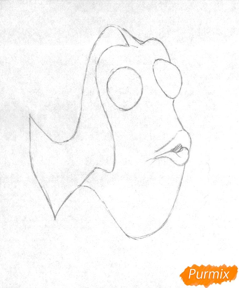 Рисуем Дори из мультфильма В поисках Дори - шаг 1