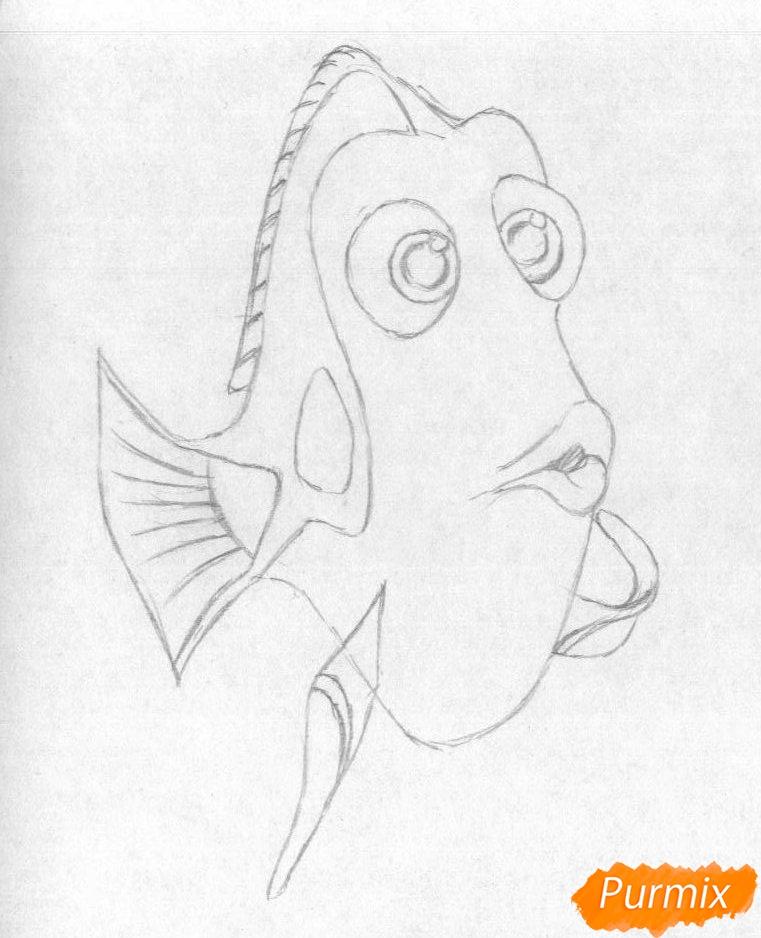 Рисуем Дори из мультфильма В поисках Дори - шаг 2