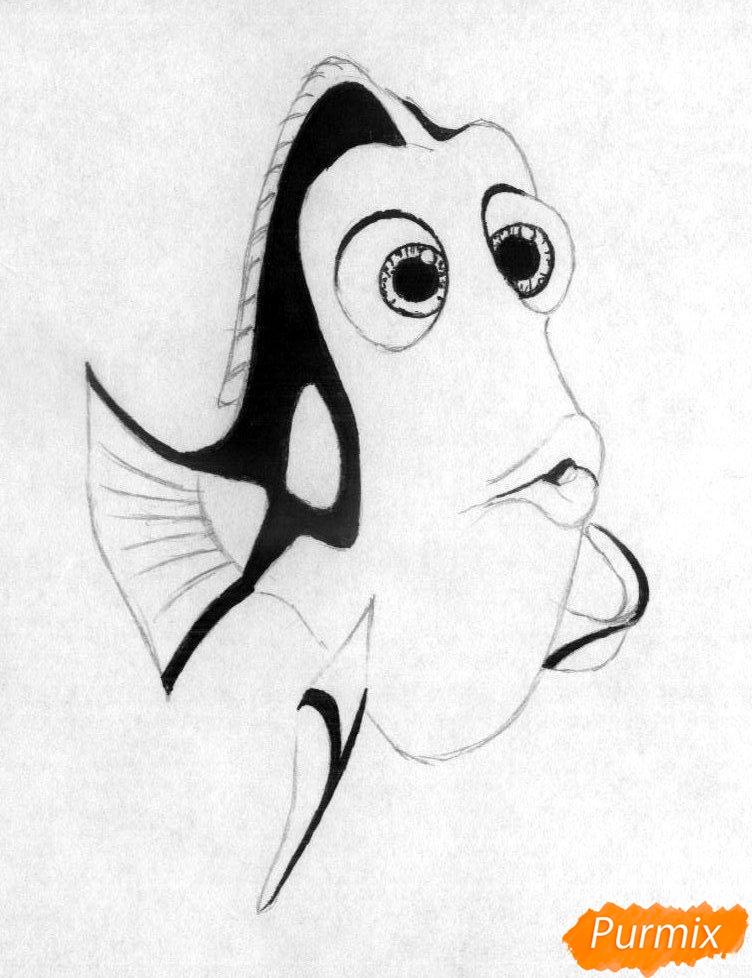 Рисуем Дори из мультфильма В поисках Дори - шаг 3