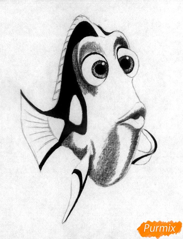 Рисуем Дори из мультфильма В поисках Дори - шаг 4