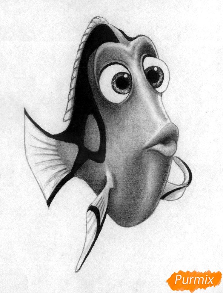 Как нарисовать Дори из мультфильма В поисках Дори карандашом поэтапно