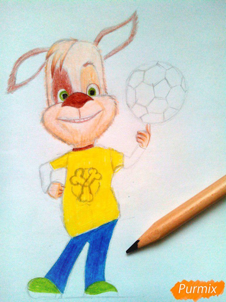 Рисуем Дружка из мультсереала Барбоскины цветными - шаг 12