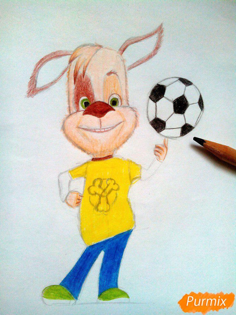 Рисуем Дружка из мультсереала Барбоскины цветными - шаг 13