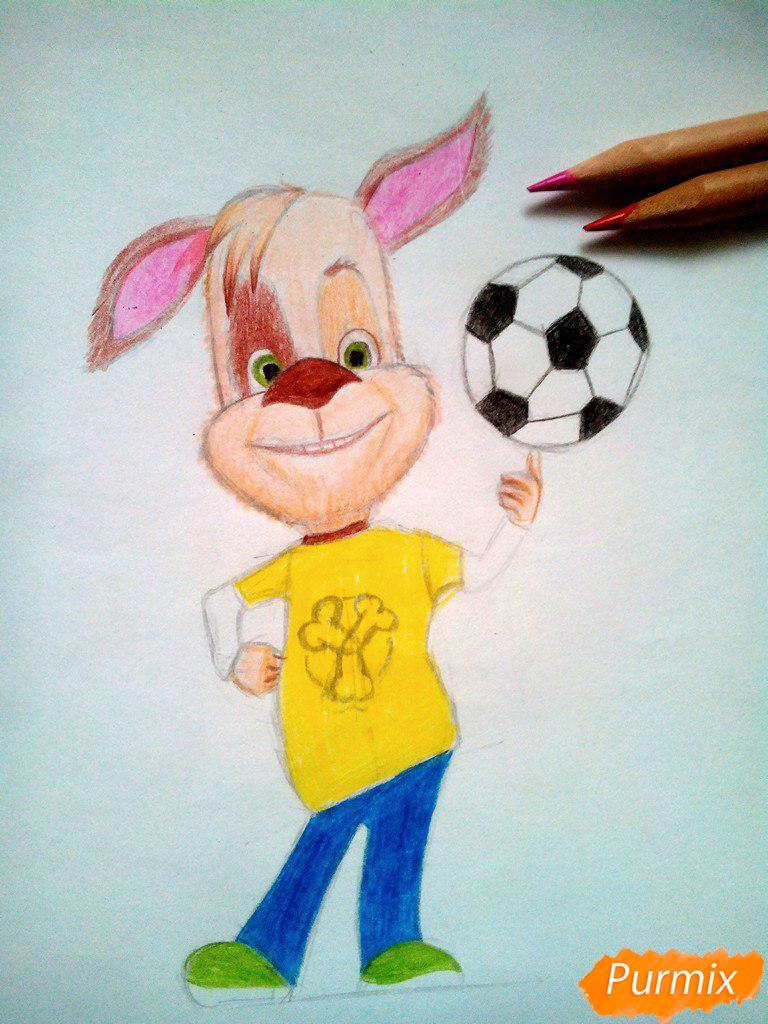 Рисуем Дружка из мультсереала Барбоскины цветными - шаг 14