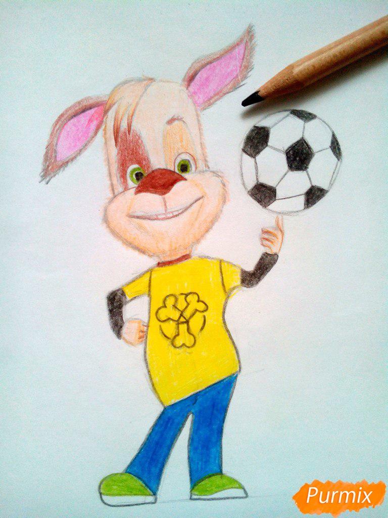 Рисуем Дружка из мультсереала Барбоскины цветными - шаг 15