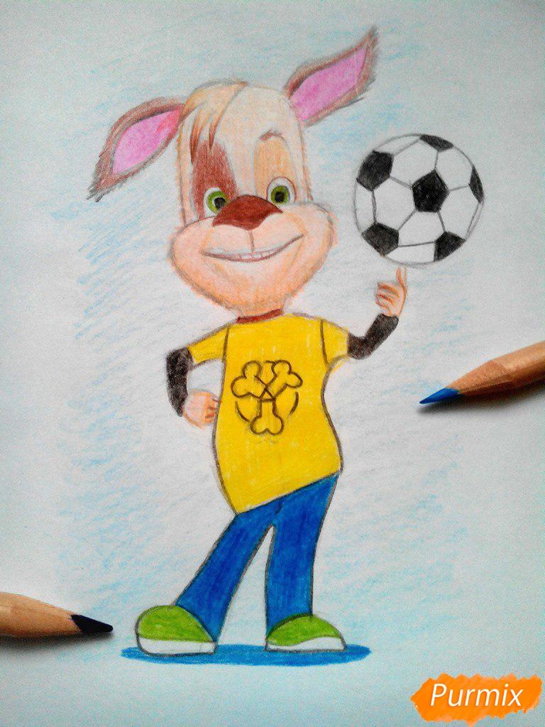 Рисуем Дружка из мультсереала Барбоскины цветными - шаг 16