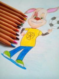 Дружка Барбоскина цветными карандашом