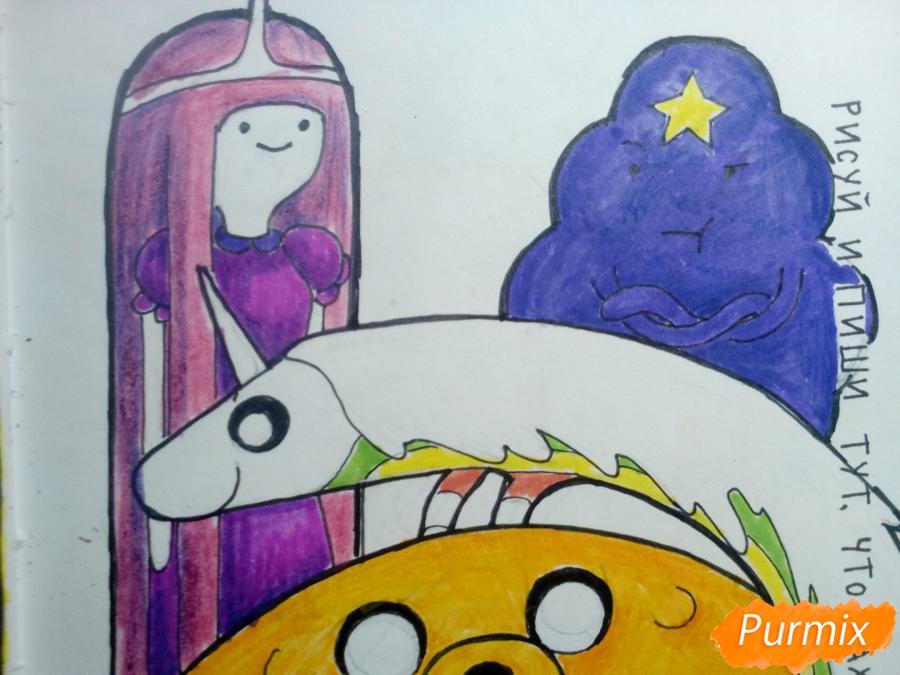 Время приключений: Финн, Джейк, Принцесса Бубльгум, Пупырка, Леди Ливнерог - шаг 13