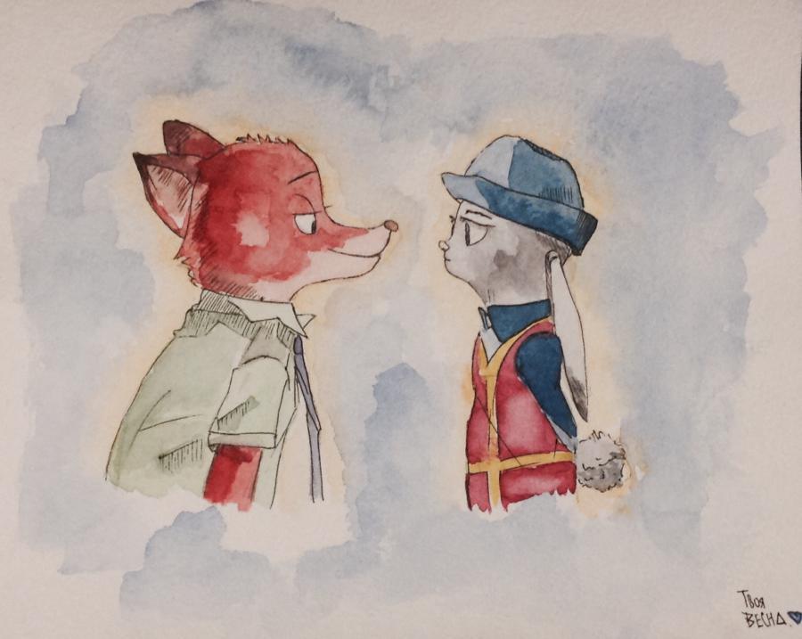 Как нарисовать и раскрасить Ника и Джуди из Зверополиса поэтапно