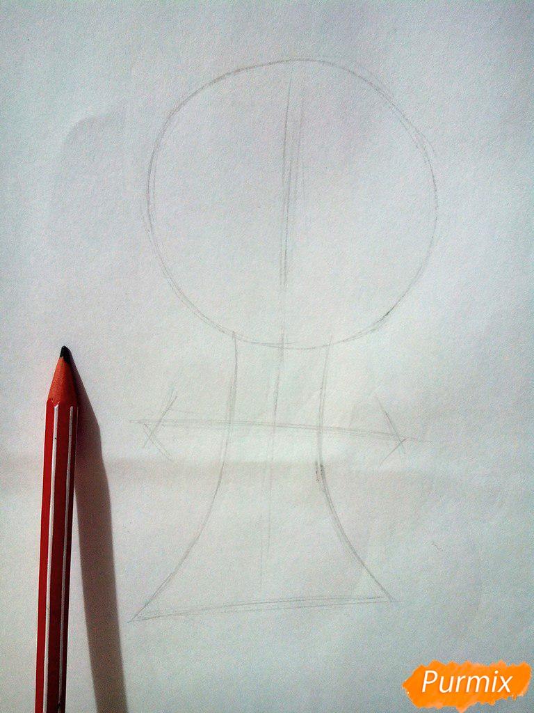 Рисуем испуганного мышонка цветными карандашами - шаг 1
