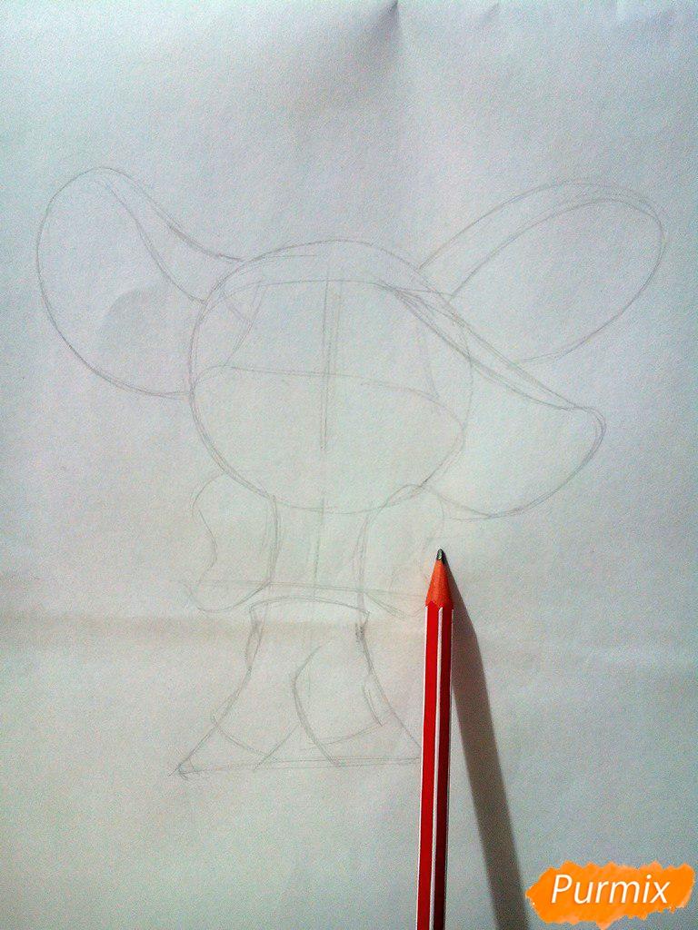 Рисуем испуганного мышонка цветными карандашами - шаг 2