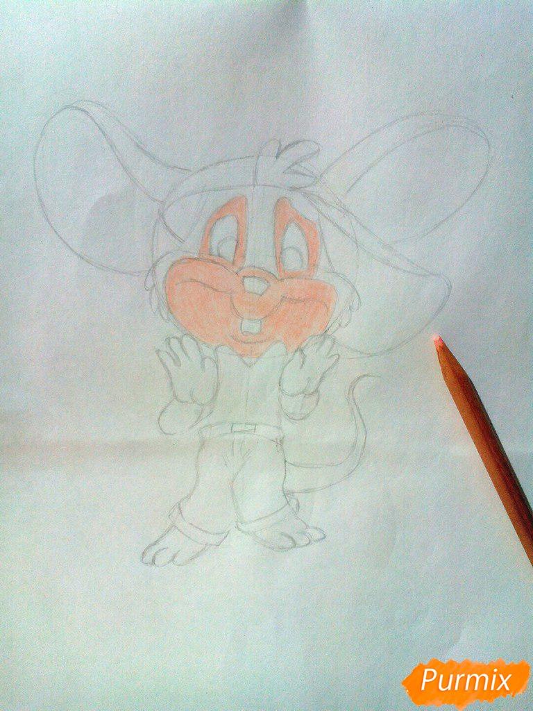 Рисуем испуганного мышонка цветными карандашами - шаг 5