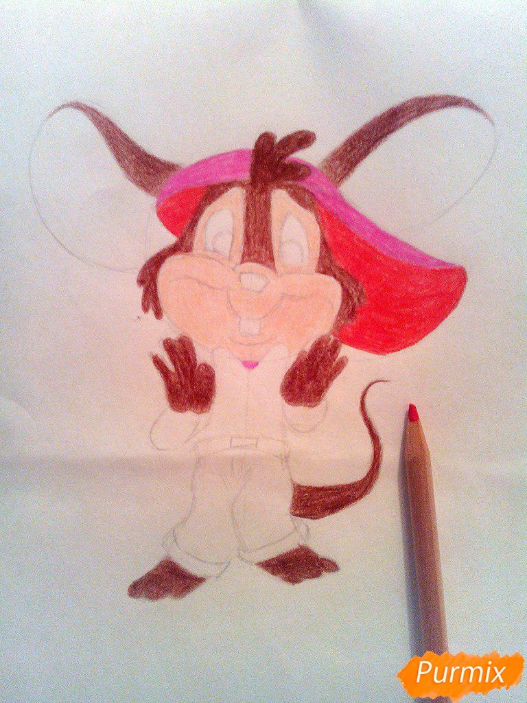 Рисуем испуганного мышонка цветными карандашами - шаг 8