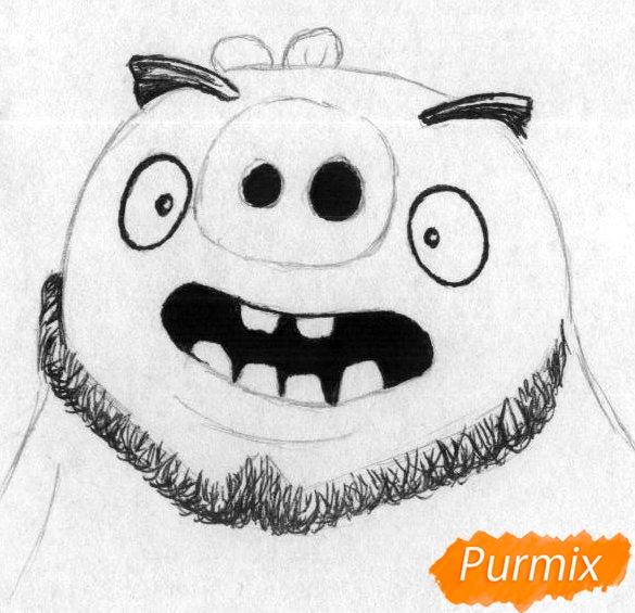 Рисуем Леонарда из Angry Birds в кино карандашами и ручкой - шаг 2