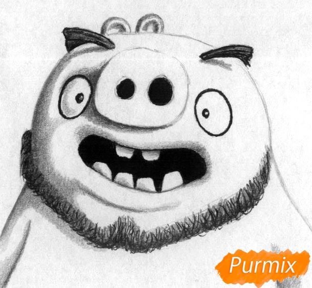 Рисуем Леонарда из Angry Birds в кино карандашами и ручкой - шаг 3
