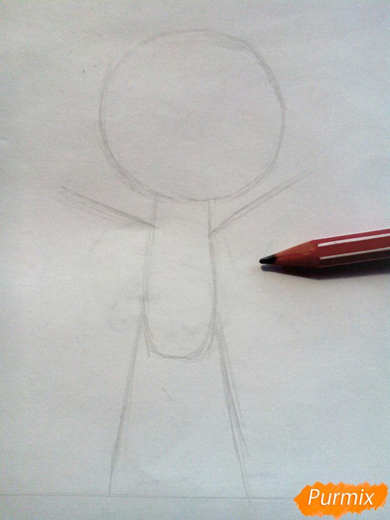 Рисуем Малыша из мультфильма Барбоскины цветными карандашами - шаг 1