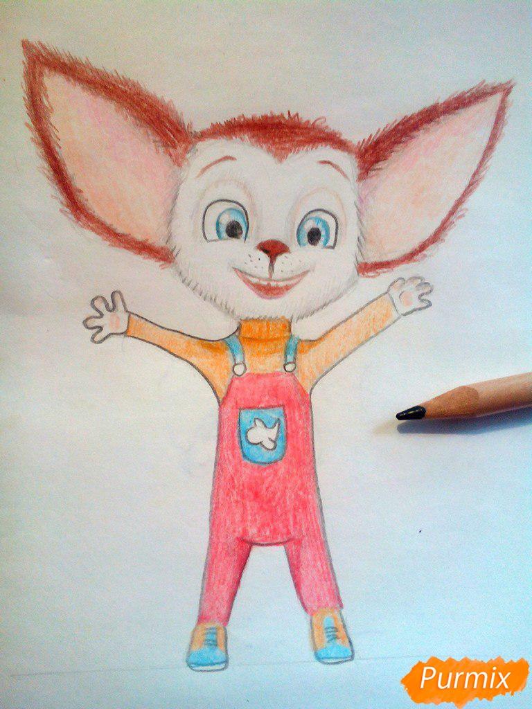 Рисуем Малыша из мультфильма Барбоскины цветными карандашами - шаг 11