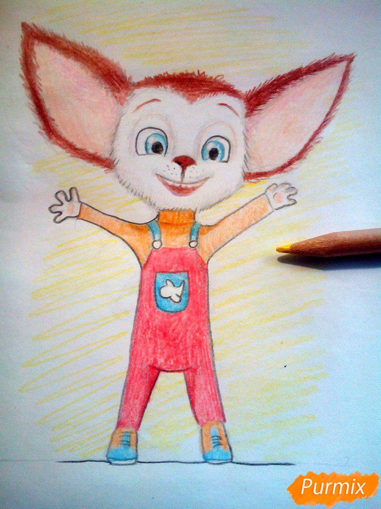 Рисуем Малыша из мультфильма Барбоскины цветными карандашами - шаг 12