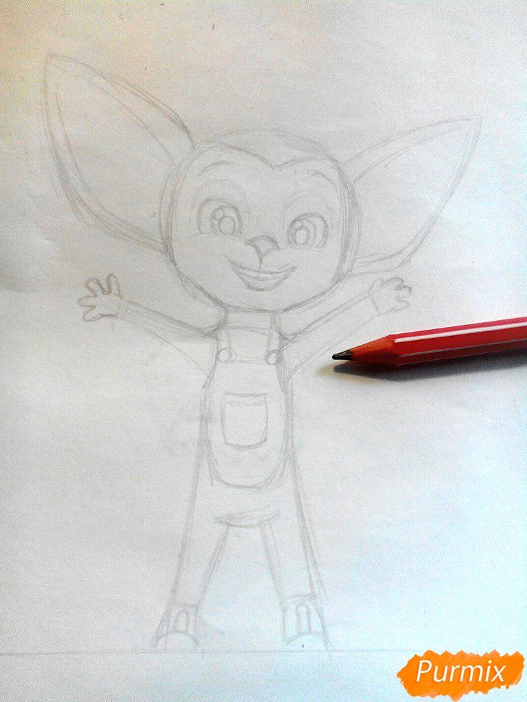 Рисуем Малыша из мультфильма Барбоскины цветными карандашами - шаг 3