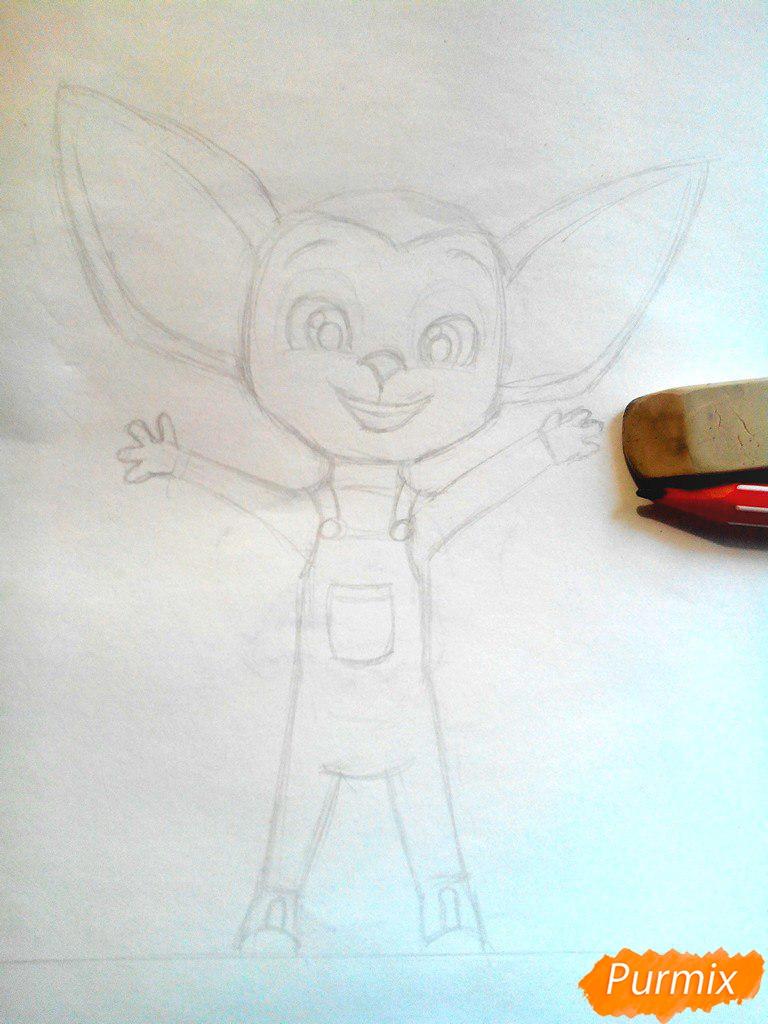 Рисуем Малыша из мультфильма Барбоскины цветными карандашами - шаг 4