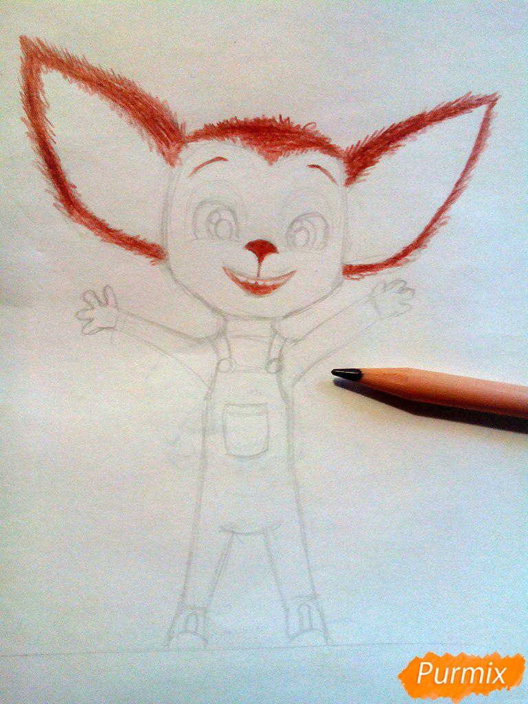 Рисуем Малыша из мультфильма Барбоскины цветными карандашами - шаг 5