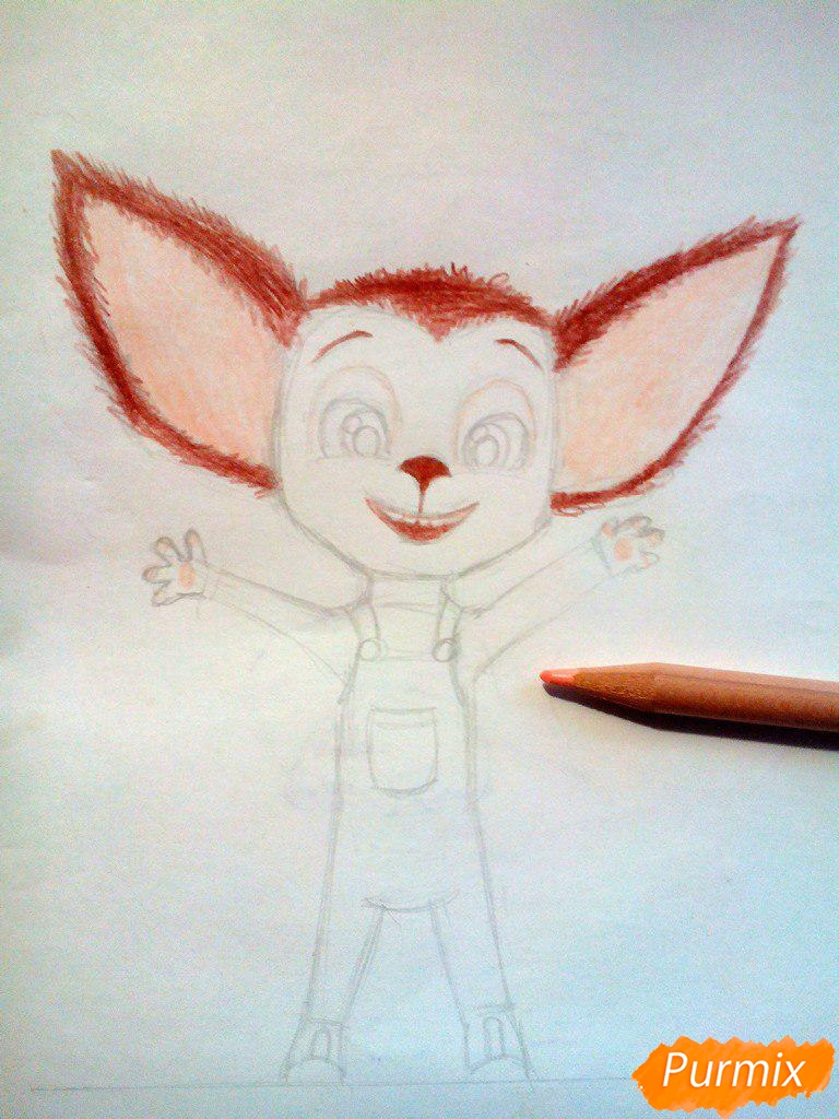 Рисуем Малыша из мультфильма Барбоскины цветными карандашами - шаг 6
