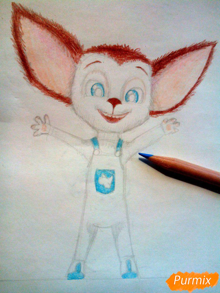 Рисуем Малыша из мультфильма Барбоскины цветными карандашами - шаг 8